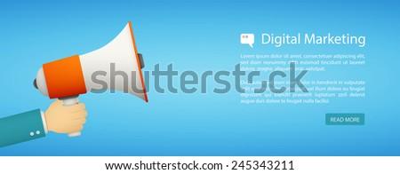 flat style web banner, digital marketing eps10 - stock vector