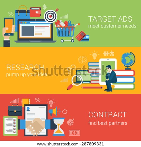Flat style web banner modern digital marketing partnership icon set. Target advertising research idea knowledge education contract partners collage. Website click infographics elements collection. - stock vector