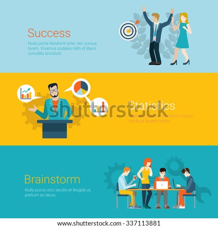 Flat style website slider banner success statistics brainstorming concept web infographics. Couple joy dancing arrow hit target, tribune speaker data graphic, team meeting room brainstorm vector. - stock vector