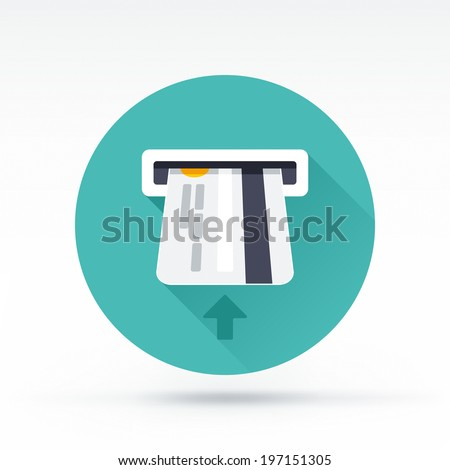 Flat style with long shadows, atm card vector icon illustration. - stock vector