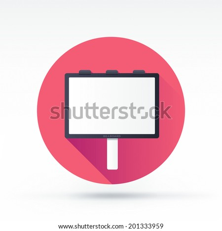 Flat style with long shadows, billboard vector icon illustration. - stock vector