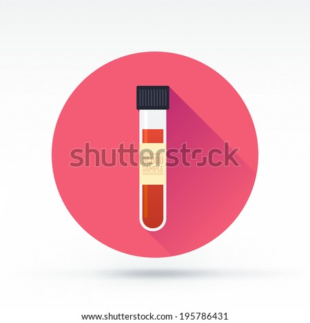 Flat style with long shadows, blood sample vector icon illustration. - stock vector