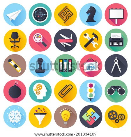 Flat style with long shadows, brainstorming and leadership themed vector illustrations. Circle icon set. - stock vector
