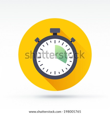 Flat style with long shadows, chronometer vector icon illustration. - stock vector