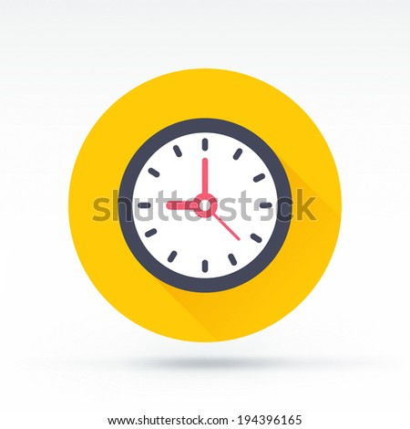 Flat style with long shadows, clock vector icon illustration. - stock vector