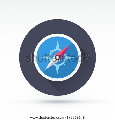 Flat style with long shadows, compass vector icon illustration. - stock vector