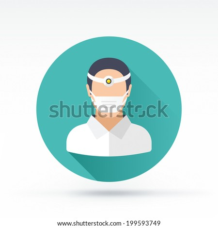 Flat style with long shadows, dentist / doctor vector icon illustration. - stock vector
