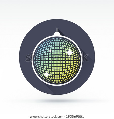 Flat style with long shadows, disco ball vector icon illustration. - stock vector