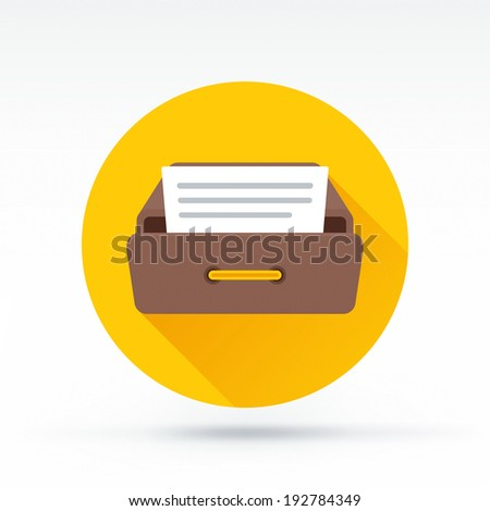 Flat style with long shadows, drawer vector icon illustration. - stock vector