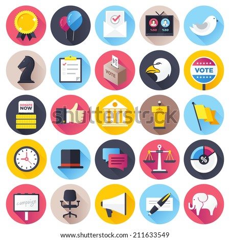 Flat style with long shadows, election and voting illustrations icons set. - stock vector