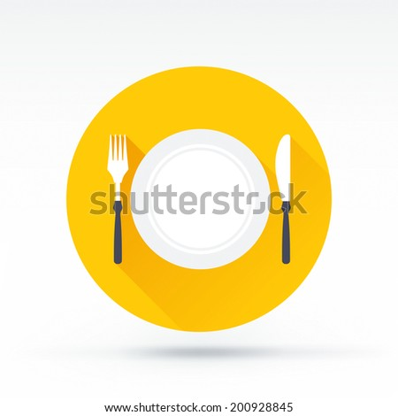 Flat style with long shadows, fork plate knife vector icon illustration. - stock vector