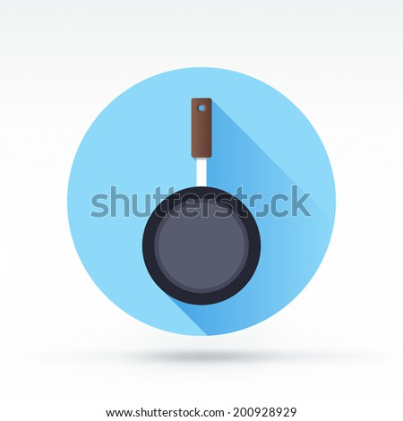 Flat style with long shadows, frying pan vector icon illustration. - stock vector