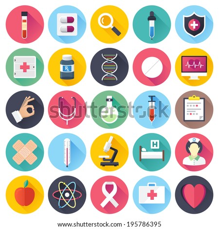 Flat style with long shadows, health care and medicine illustrations icons set. - stock vector