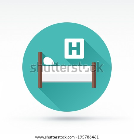 Flat style with long shadows, hospital bed vector icon illustration. - stock vector