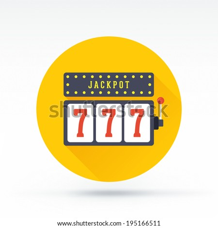 Flat style with long shadows, jackpot vector icon illustration. - stock vector