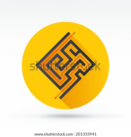 Flat style with long shadows, maze vector icon illustration. - stock vector
