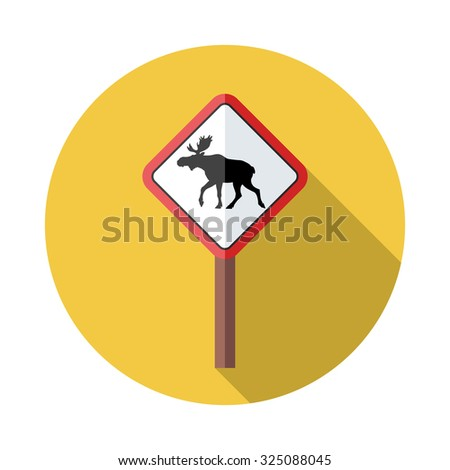 Flat style with long shadows, Moose sign vector icon illustration.
