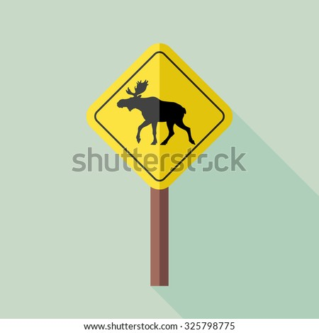 Flat style with long shadows, Moose sign vector icon illustration. - stock vector