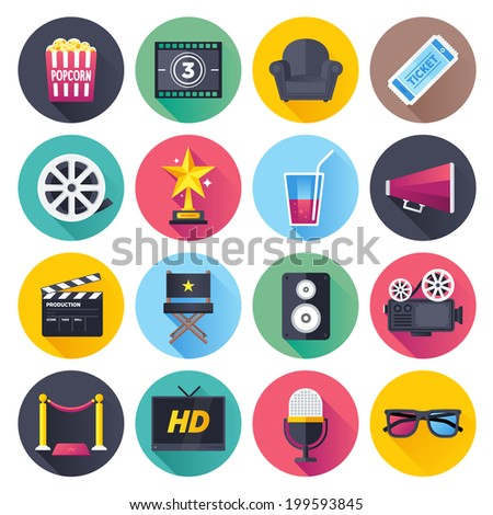 Flat style with long shadows, movie and theater themed vector illustrations. Circle icon set. - stock vector