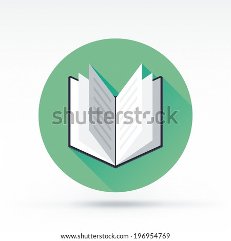Flat style with long shadows, open book vector icon illustration. - stock vector