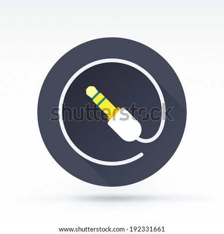 Flat style with long shadows, plug vector icon illustration. - stock vector