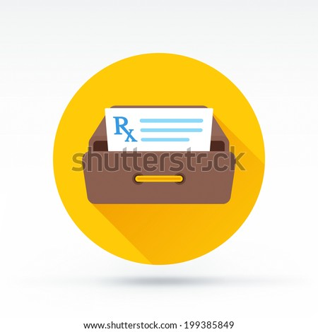 Flat style with long shadows, prescription file at desk vector icon illustration. - stock vector