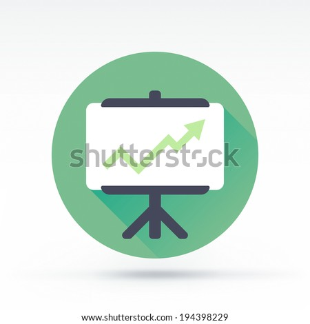 Flat style with long shadows, presentation board vector icon illustration. - stock vector