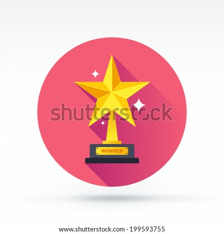 Flat style with long shadows, prize winner vector icon illustration. - stock vector