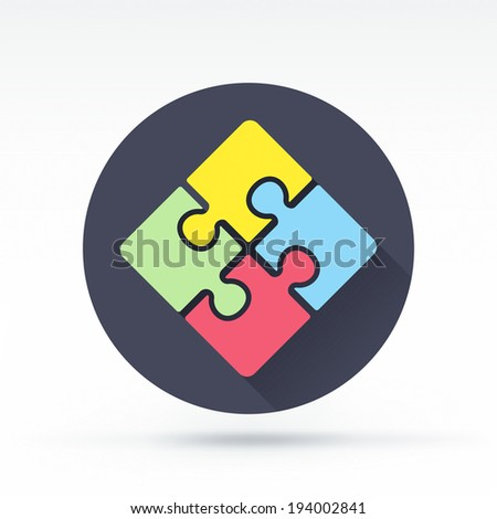 Flat style with long shadows, puzzle vector icon illustration. - stock vector