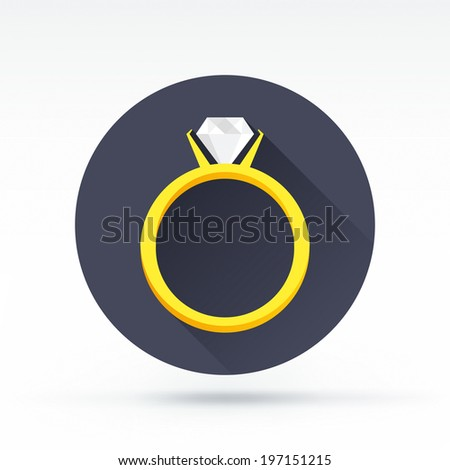 Flat style with long shadows, ring with diamond vector icon illustration. - stock vector