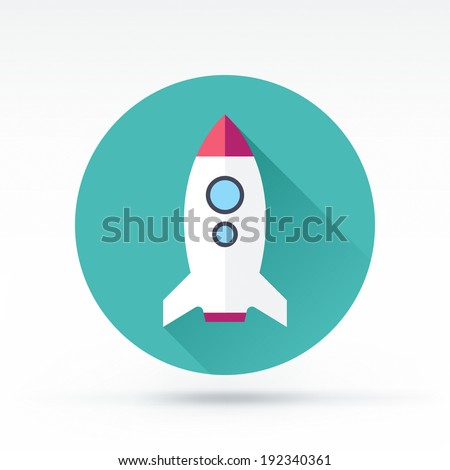 Flat style with long shadows, rocket vector icon illustration. - stock vector