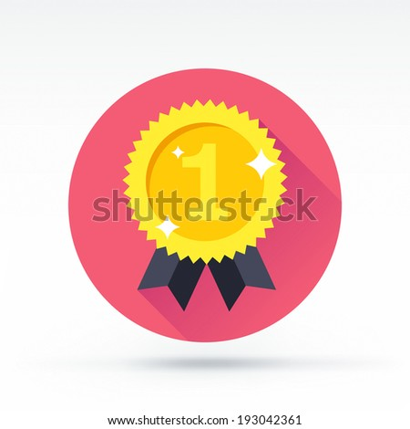 Flat style with long shadows, rosette vector icon illustration. - stock vector