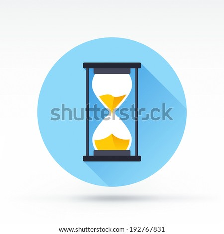 Flat style with long shadows, sandglass vector icon illustration. - stock vector
