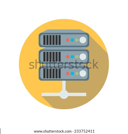 Flat style with long shadows, server vector icon illustration. - stock vector