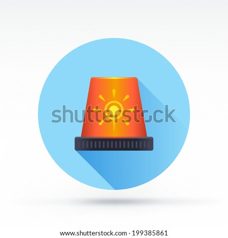 Flat style with long shadows, siren alarm vector icon illustration. - stock vector