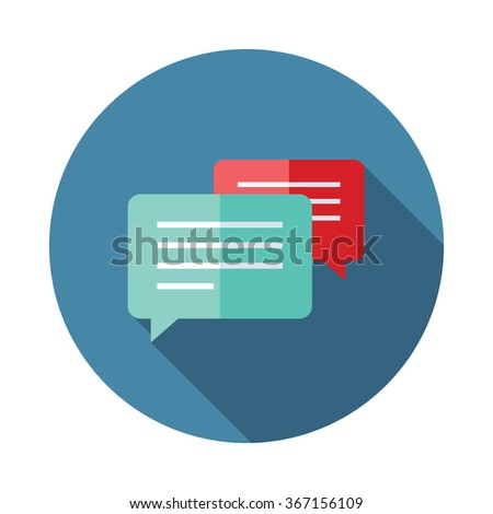 Flat style with long shadows, speech bubble vector icon illustration. - stock vector