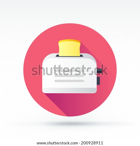Flat style with long shadows, toaster vector icon illustration. - stock vector