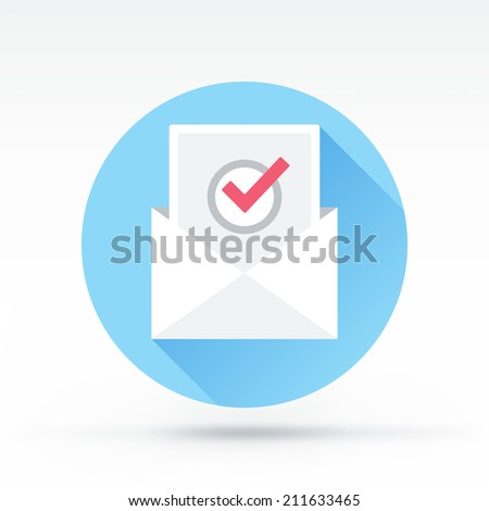 Flat style with long shadows, vote by mail vector icon illustration. - stock vector