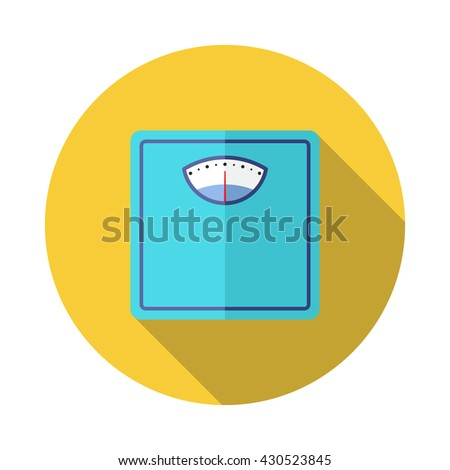Flat style with long shadows, weight scale vector icon illustration. - stock vector
