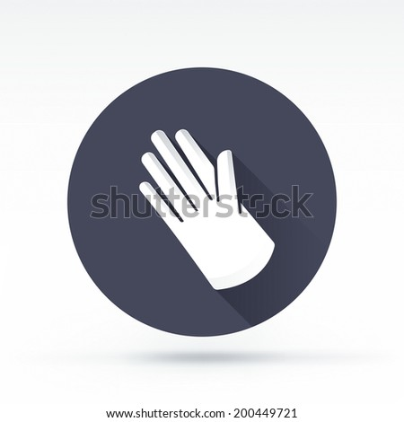 Flat style with long shadows, white glove vector icon illustration. - stock vector