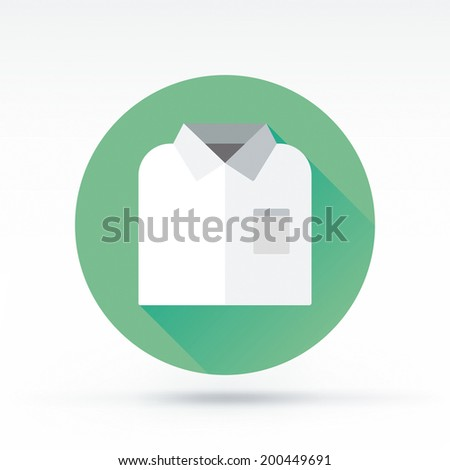 Flat style with long shadows, white shirt vector icon illustration. - stock vector