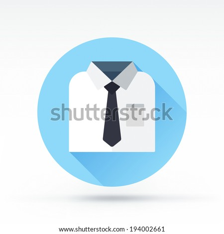 Flat style with long shadows, white shirt with necktie vector icon illustration. - stock vector