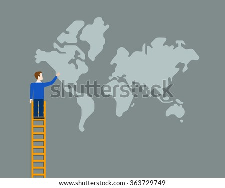 Flat style worldwide global business globalization concept web infographics vector illustration. Man on ladder touch point to world map. - stock vector