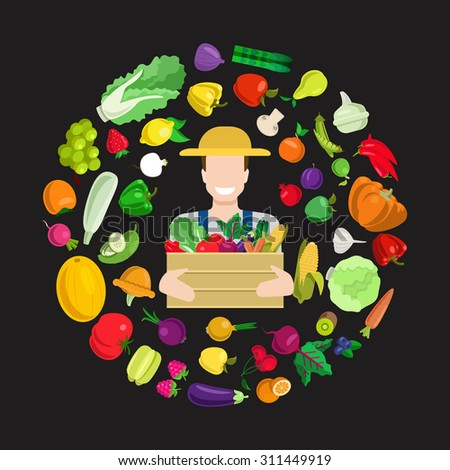 Flat style young happy smiling farmer with full harvest box. Stylish quality detail icon set farm fruit vegetable berry mushroom plants. Agriculture concept. Food farming collection. - stock vector