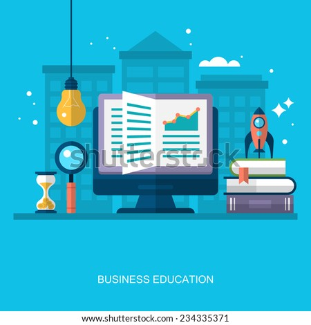Flat stylish design for business education concept. Flat vector elements for web applications and banners - stock vector