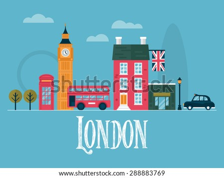 Flat stylish vector illustration for London, England. Travel and tourism concept - stock vector