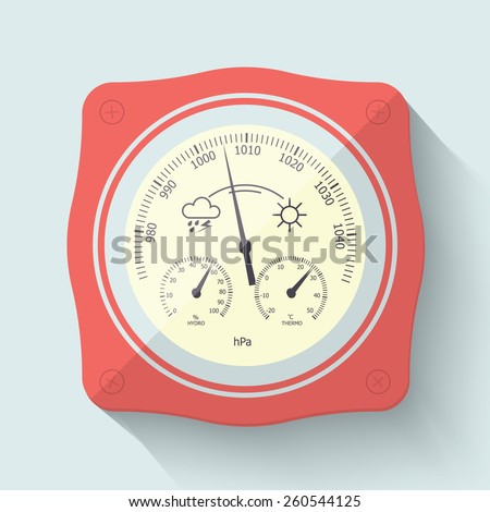 Flat Stylized Barometer Instrument, with scales for measuring air temperature and air humidity. Vector Illustration. - stock vector