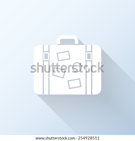 Flat suitcase icon with long shadow. Vector illustration