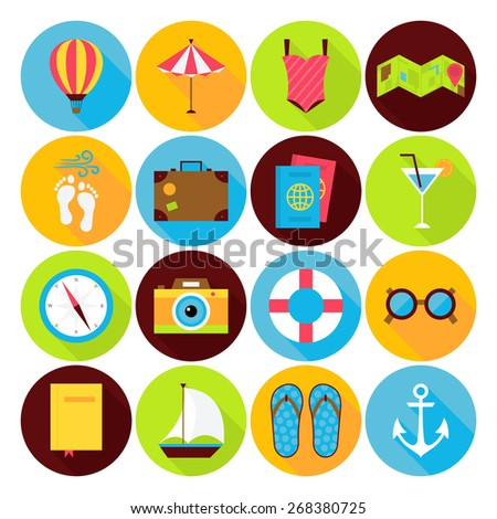 Flat Summer Holiday Icons Set. Vector Flat Stylized Circle Shaped Vacation, Travel and Sea Icons with Long Shadow