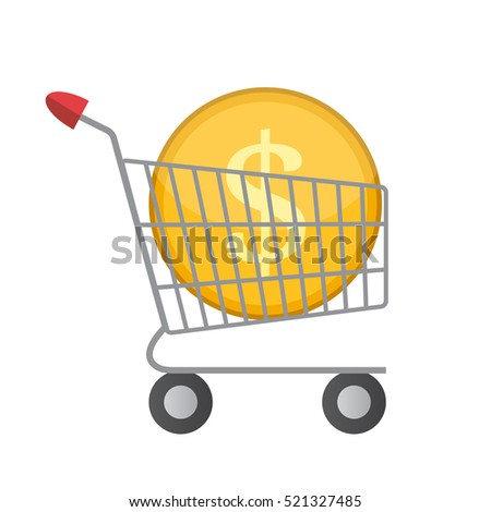 Flat Supermarket Cart Icon with Golden Coin Money Vector Illustration EPS10